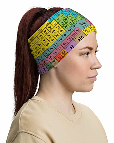 Periodic Table of Elements Face Mask Neck Gaiter science chemical tables
