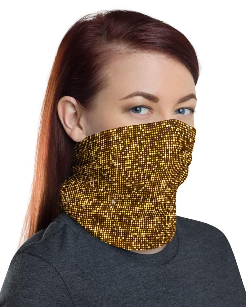 Shimmery Gold Face Mask Neck Gaiter
