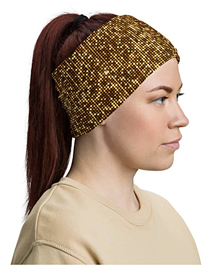 Shimmery Gold Face Mask Neck Gaiter