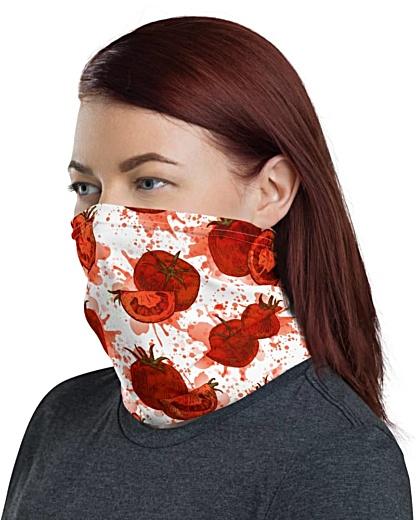 Squashed Tomato Face Mask Neck Gaiter tomatos Tomatoes