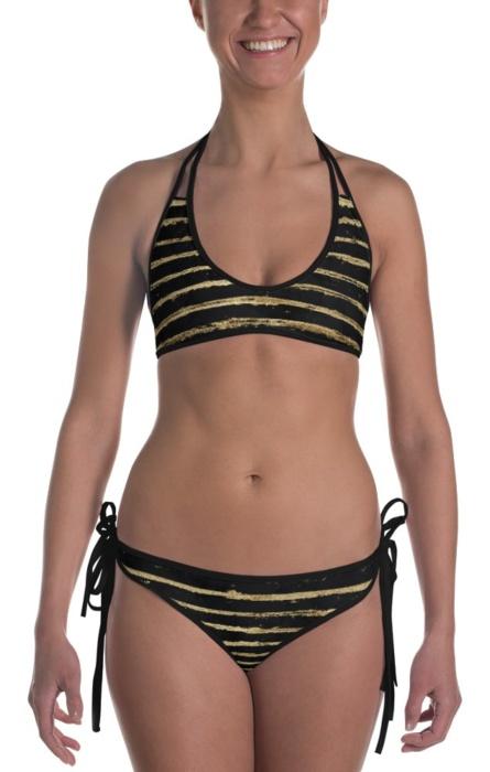 Glittery Gold Painted Stripe Two Piece Reversible Bikini string black golden faux