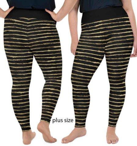 Glittery Gold Painted Stripe Leggings glamorous designer trendy glitter painted black golden plus size