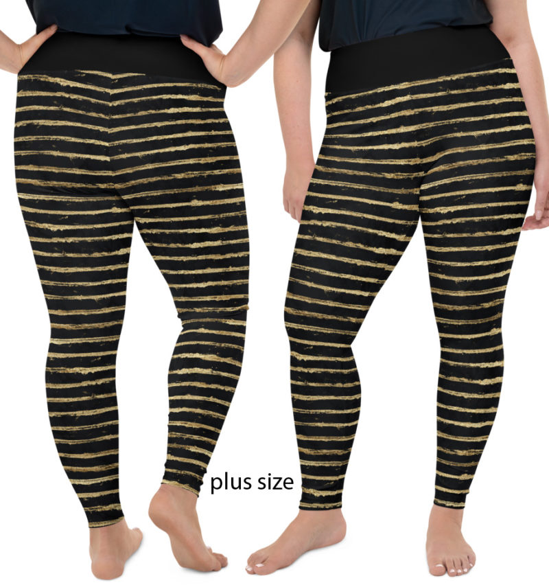 Glittery Gold Painted Stripe Leggings glamorous designer trendy glitter painted black golden plus size