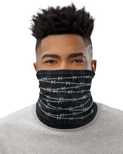 Barbed Wire Face Mask Neck Gaiter metal wires metallic statement freedom