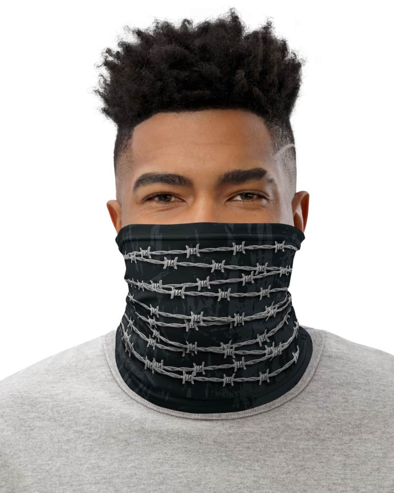 Barbed Wire Face Mask Neck Gaiter metal wires metallic statement freedom