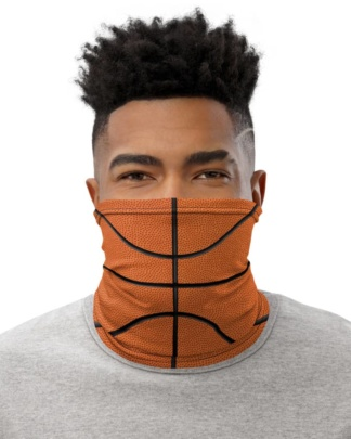 Basketball Face Mask Neck Gaiter textured orange ball sport sports cover