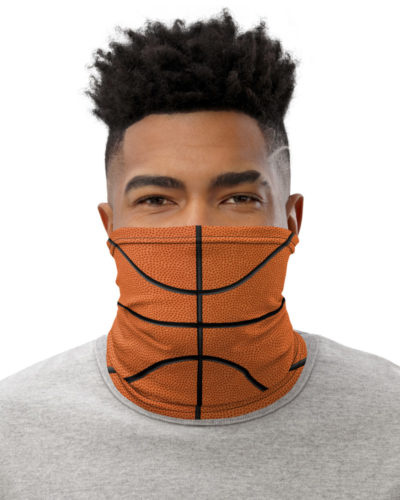 Basketball Face Mask Neck Gaiter textured orange ball sport sports cover