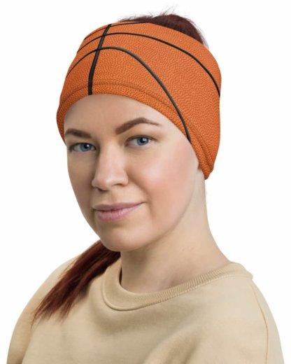 Basketball Face Mask Neck Gaiter textured orange ball sport sports cover bandana