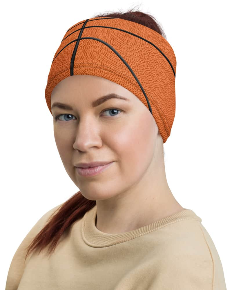 Basketball Face Mask Neck Gaiter textured orange ball sport sports cover bandana