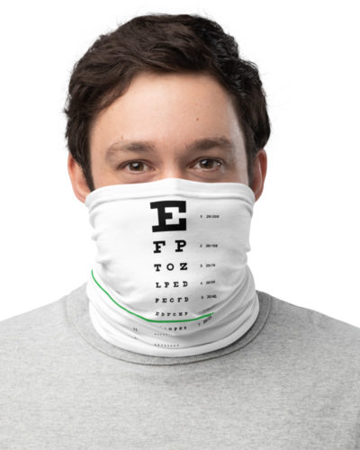 Snellen Eye Chart Face Mask Monkey Neck Gaiter eye doctor