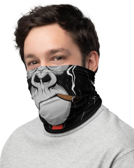 Gorilla Face Mask Monkey face mask bandanna Neck Gaiter cigar smoking smoke