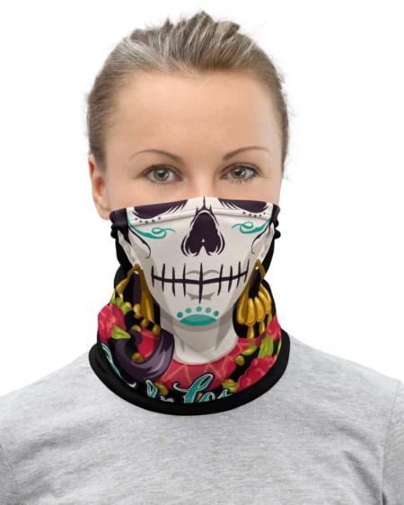 Skeleton Day of the Dead Neck Gaiter face mask Día de los Muertos