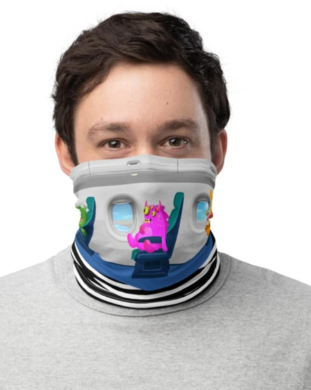 Aviation coronavirus rona protection masksTravelling Alien Passenger Airplane Neck Gaiter