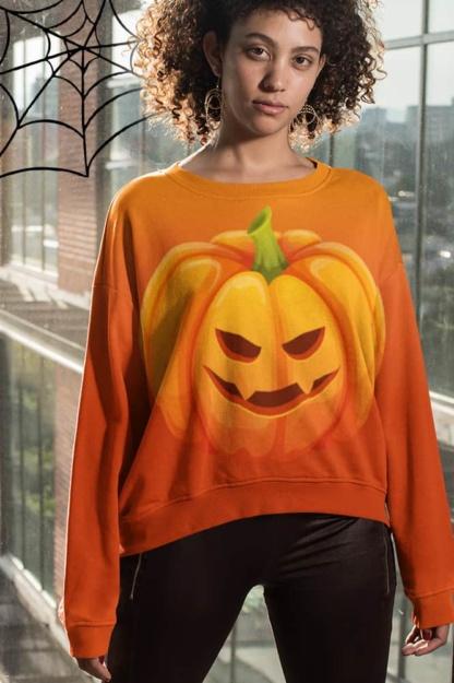 Orange Halloween Pumpkin Sweatshirt / Unisex Size costume vegetable