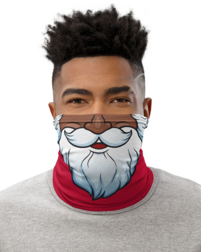 Bearded Santa Claus Christmas Face Mask Neck Gaiter Christmas Holidays Black Santa