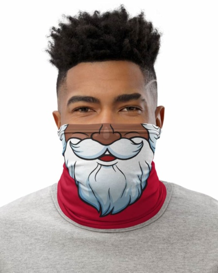 Bearded Santa Claus Christmas Face Mask Neck Gaiter Christmas Holidays Black Santa