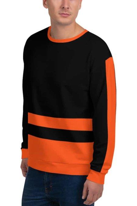 Modern Stripe Sweatshirt / Unisex Size Pinstripe Striped black white red pink orange green khaki