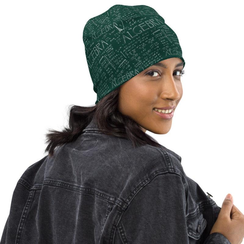Algebra Math Beanie Green Hat Green Calkboard