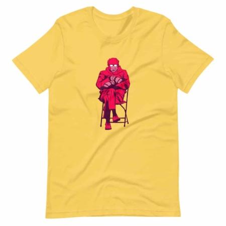 Bernie Sanders Mittens gloves Mem T-shirt Short-Sleeve Men's Top pop art pink white yellow black 2021 inauguration president