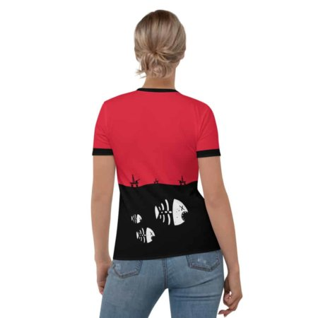 Fish Skeleton Oil Rig Environment T-shirt - Women's Short Sleeve Environmental activist