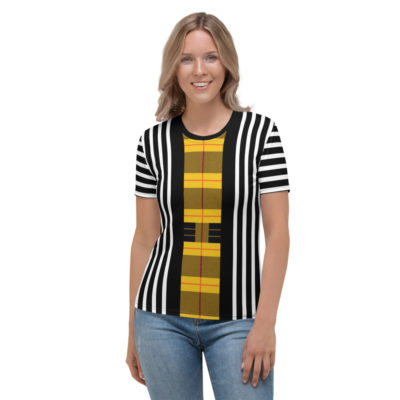 Plaid Striped T Shirt / Women's Short Sleeve Top