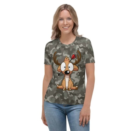 Camouflage Deer Hunter T-shirt - Women's Short Sleeve Top