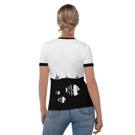 Fish Skeleton Oil Rig Environment T-shirt - Women's Short Sleeve Environmental activist