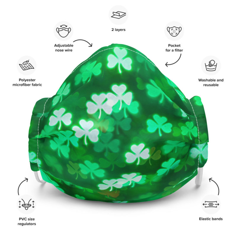 Irish Ireland Saint St Patrick's Day Green Shamrock Protective Face Mask