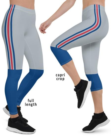 Blue red gray stripes New York Giants NFL football Game Day Uniform Leggings capri full length plus size pants