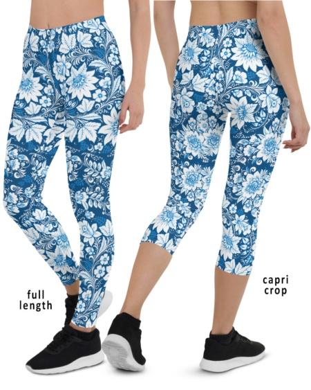 Blue Floral Porcelain Leggings