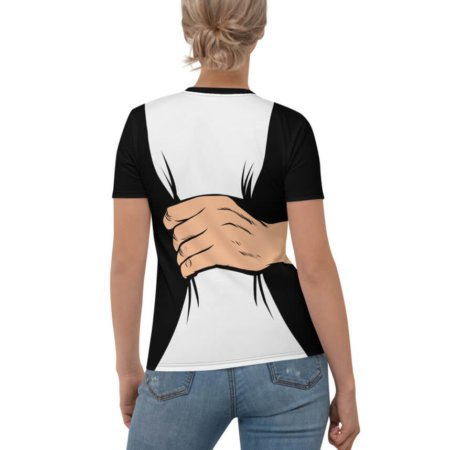 Belly Squeeze T-shirt / Women's Girls Short Sleeve Top squeezing tummy stomach belly