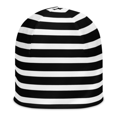 Horizontal Striped Beanie Winter Hat Black & White, Pink, Orange, Blue, Red