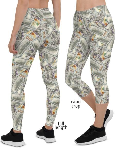 100 Dollars Money Leggings USD Rich Bling