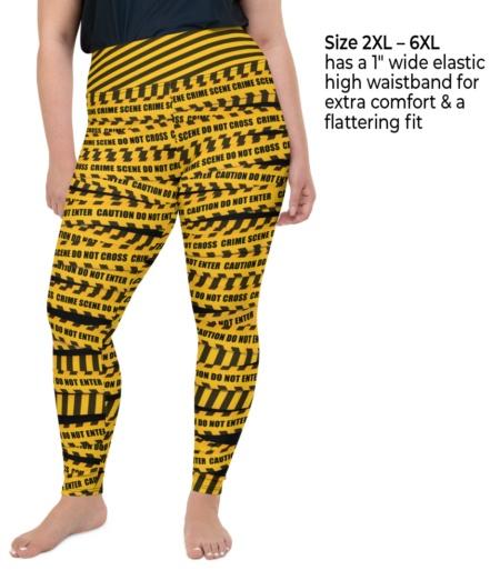 Yellow Warming Crime Scene Plus Size Caution Tape Leggings