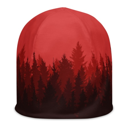 Winter Pine Forest Beanie Hat red green gold