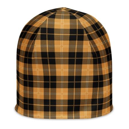 Scottish Tartan Plaid Beanie Hat winter cap yellow blue white red