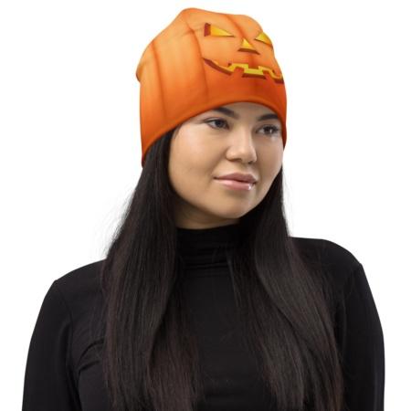 Festive Candle Face Halloween Orange Pumpkin Hat